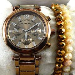 2f18fb6c581 Relógio Michael Kors Essential Sofie Cobre Pulseira Aço Feminino + PULSEIRA  e BRINCOS