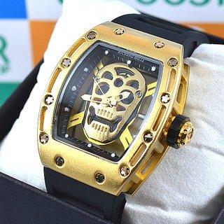 ba592ab47c9 relógio curl detroit atom masculino relogio richardmille gold skull