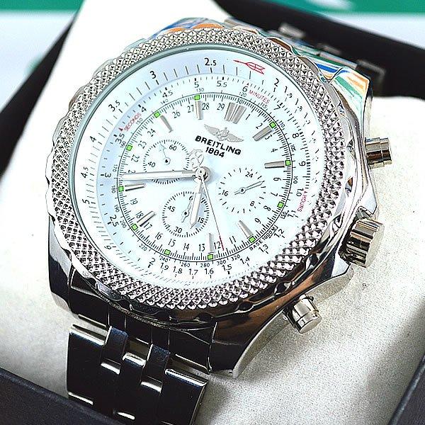 b7d5442589f Relógio Breitling for Bentley Prata Fundo Branco Pulseira Aço Masculino À  PROVA D´ÁGUA