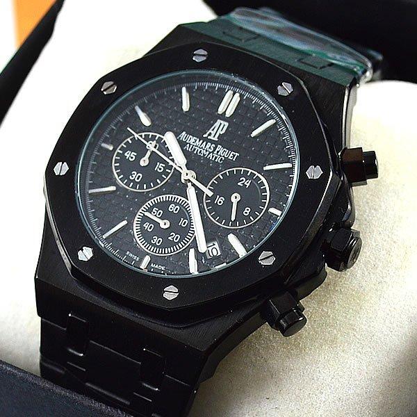 b356ac89c84 Relógio Audemars Piguet Royal Oak Funcional Preto Fundo Preto Pulseira Aço  Masculino À prova d´água
