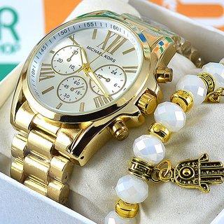 6c9ed6e3e06 Relógio Michael Kors Bradshaw Gold Ground Silver Pulseira Aço Feminino +  PULSEIRA e BRINCOS