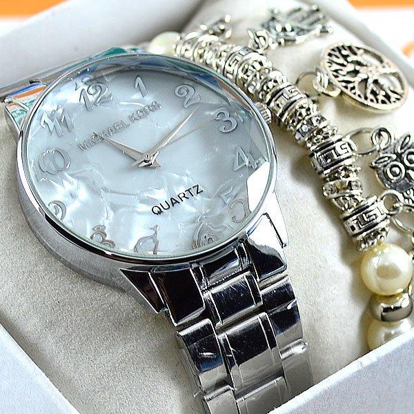 81ad28470e9 Relógio Michael Kors Lacquered Glass Silver Pulseira Aço Feminino + PULSEIRA  e BRINCOS. 0% OFF. 1
