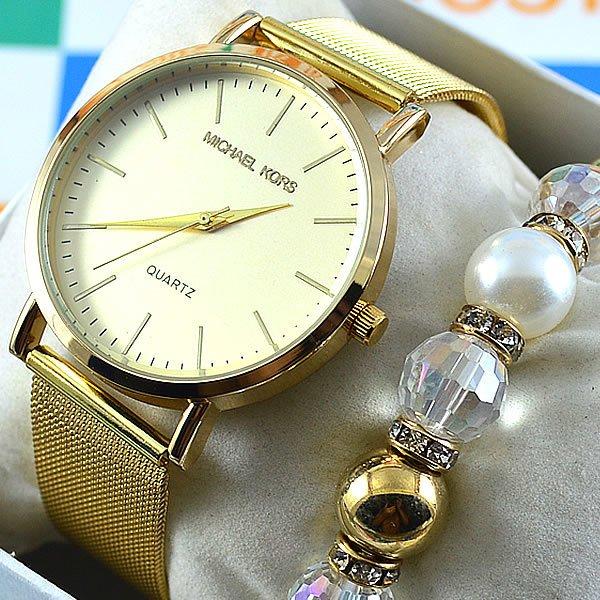 Relógio Michael Kors Essential Slim Runway Gold Bracelet Crystal Pulseira  Esteira Aço Feminino + PULSEIRA e BRINCOS 6fbf9bbc8f