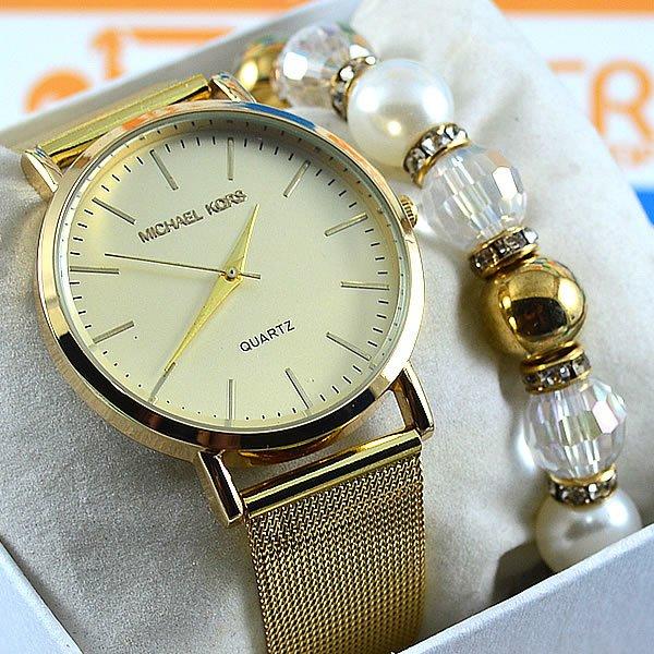 632bee4b25c Relógio Michael Kors Essential Slim Runway Gold Bracelet Crystal Pulseira  Esteira Aço Feminino + PULSEIRA e BRINCOS. 0% OFF. 1