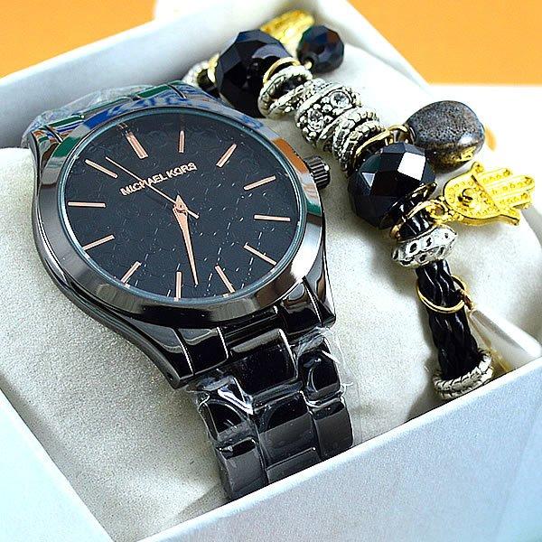 242242f5584 Relógio Michael Kors Slim Runway Black Pulseira Aço Feminino + PULSEIRA e  BRINCOS. 0% OFF. 1
