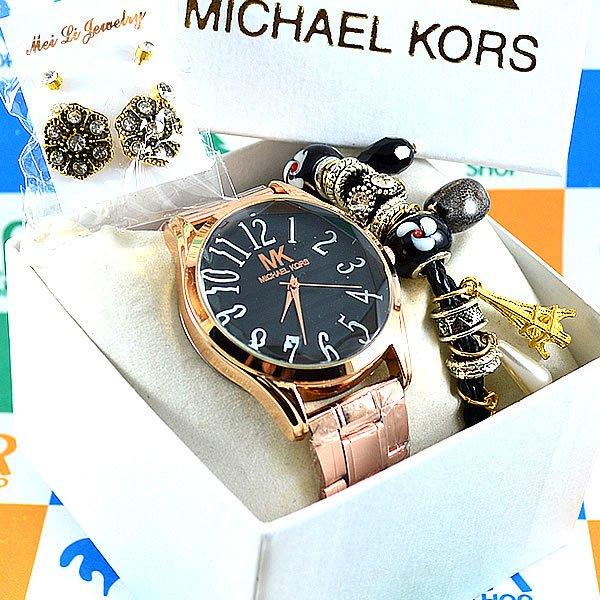 79a85212025 Relógio Michael Kors Glamorous Rosé Back Black Pulseira Aço Feminino +  PULSEIRA e BRINCOS. 0% OFF. 1