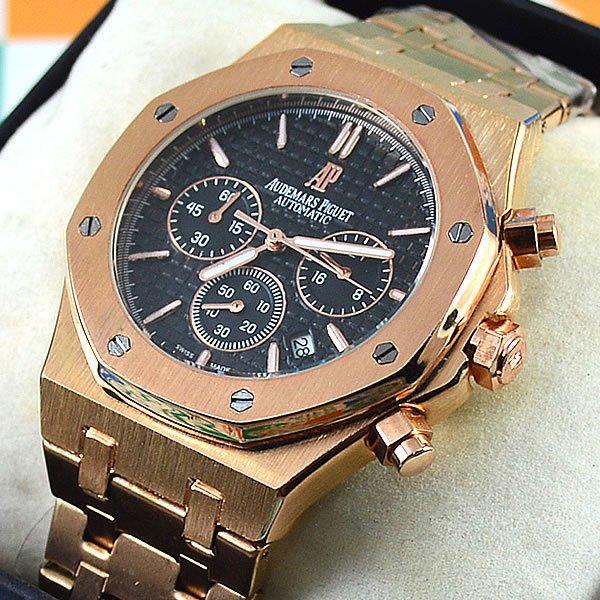 0c1e7b65a39 Relógio Audemars Piguet Royal Oak Funcional Rosé Fundo Preto Pulseira Aço  Masculino À prova d´água