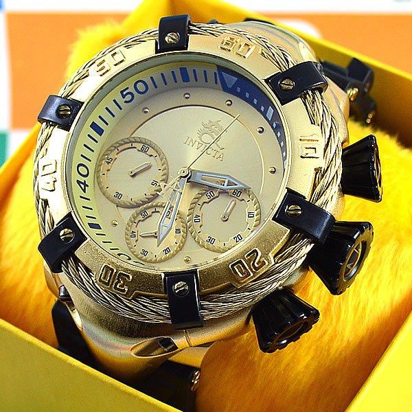 87b02b9742e Relógio Invicta Thunderbolt Funcional Dourado Fundo Dourado Pulseira  Borracha Preta Masculino À PROVA D´ÁGUA