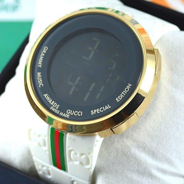 1a4e7f629b967 Relógio Gucci Grammy Awards Digital Dourado Pulseira Borracha Branca Unissex  À PROVA D´ÁGUA
