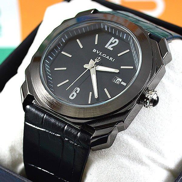 449db660be6 Relógio Bvlgari Octo Maserati Preto Pulseira Couro Unissex À PROVA D´ÁGUA