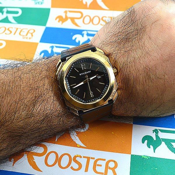 370de770202 Relógio Bvlgari Octo Maserati Dourado Fundo Preto Pulseira Couro Unissex À  PROVA D´ÁGUA. 0% OFF