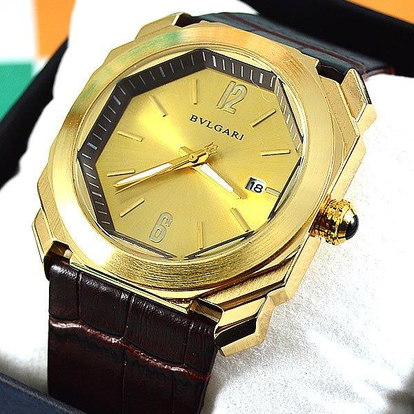 e9ee7fad899 Relógio Bvlgari Octo Maserati Dourado Pulseira Couro Unissex À PROVA D´ÁGUA