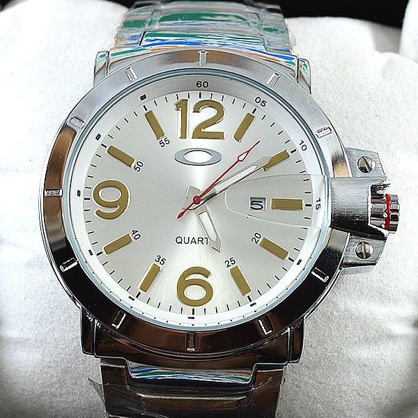 ... Relógio Oakley Iron Man Prata Fundo Prata Pulseira Aço Masculino À  PROVA D´ÁGUA ... 3f98fb97433