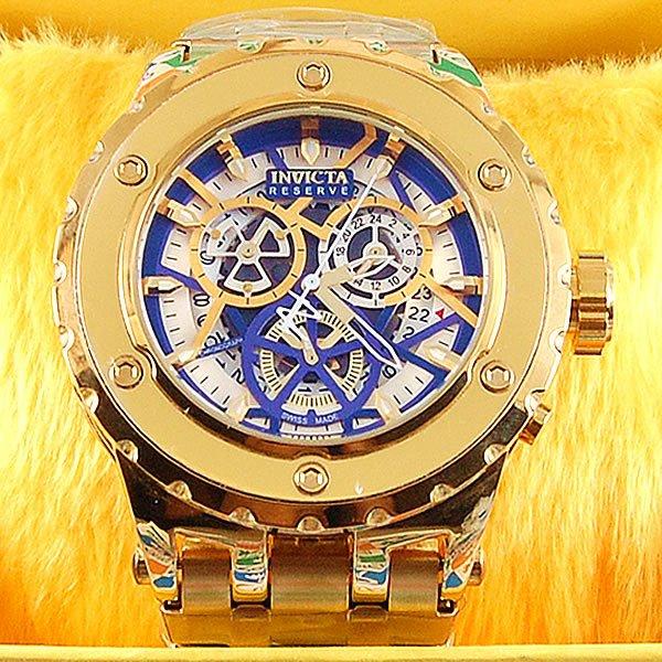 833ab5ceab9 Relógio Invicta Reserve Tourbillion Funcional Dourado Pulseira Aço  Masculino À PROVA D´ÁGUA