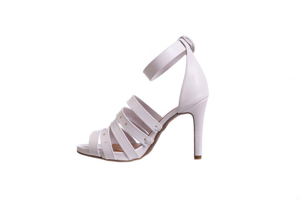75b84cf373 Sandália Branca Salto Fino Tiras - Butique de Sapatos