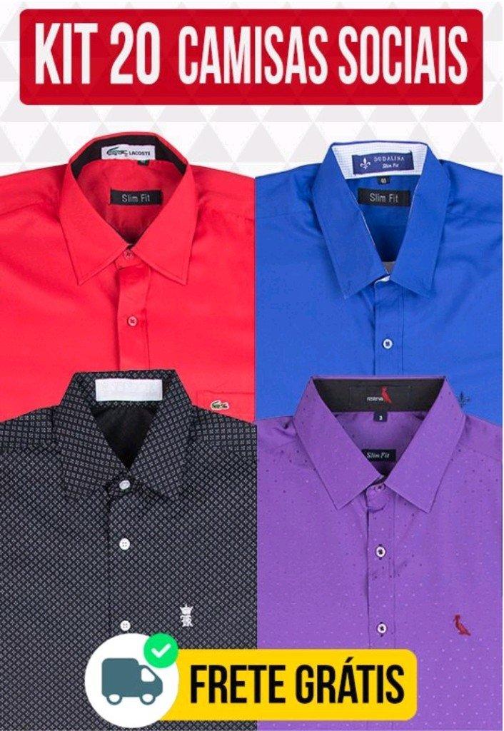 c939c3cc9d Kit 20 Camisas Sociais - Comprar em BAZAR JK