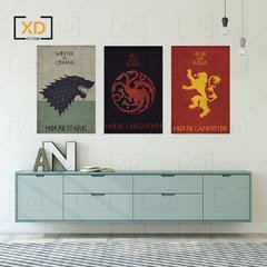 Kit 3 Placas Game of Thrones Targaryen Stark Lannister