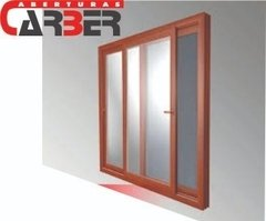 Ventana De Pvc de 1,50 X 2,00, V. Float de 4mm, Color Golden Oak, simil madera