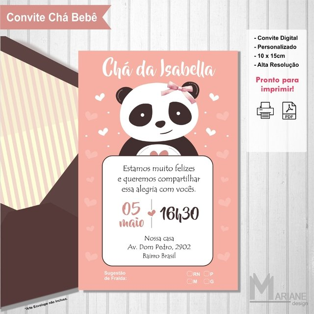 Convite Panda Rosa Cha De Bebe Mariane Design