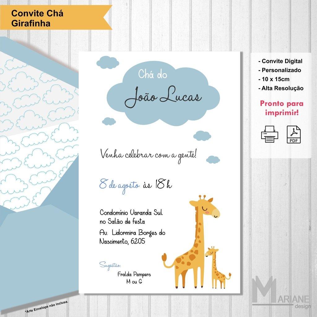 Convite Girafa Chá De Bebê Mariane Design