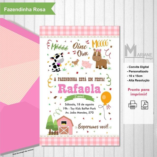 Convite Fazendinha Rosa Comprar Em Mariane Design