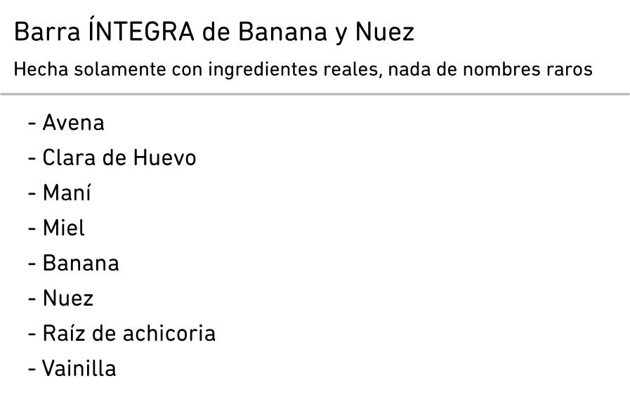 Ingredientes Banana y Nuez