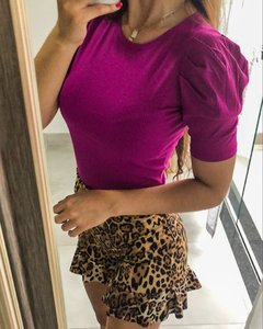 Short peplum animal print