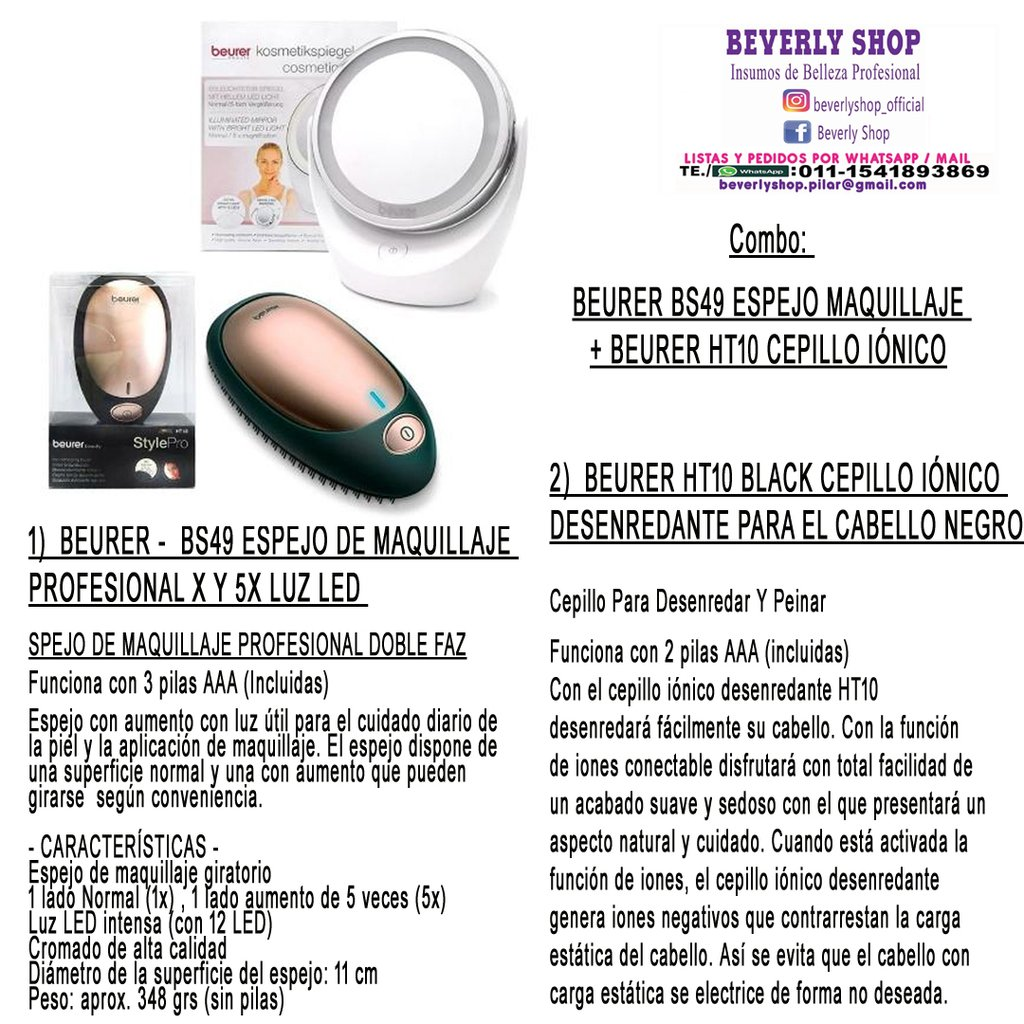 Combo-BEURER BS49 ESPEJO + CEPILLO IONICO 061bd061f3e0