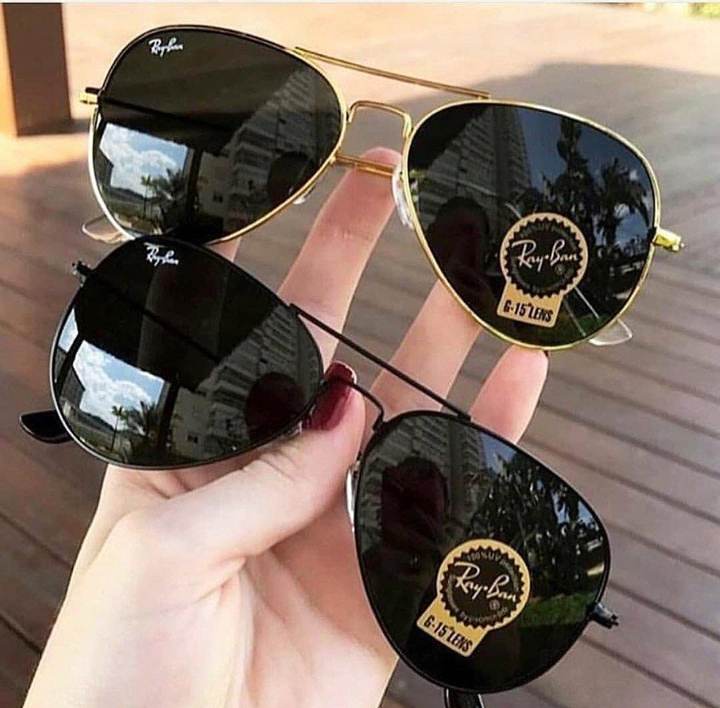 c922fba7d7cc9 Kit C 2 Oculos De Sol Ray-Ban Aviador Classico De Cristal Cores Variadas