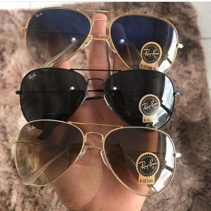 e3daec30e5f25 Kit C 3 Oculos De Sol Ray-Ban Aviador Classico De Cristal Cores Variadas