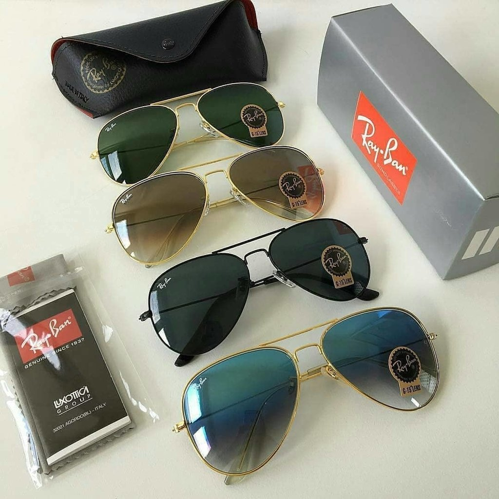 bc2831097 Kit C/4 Oculos De Sol Ray-Ban Aviador Classico De Cristal Frete gratis