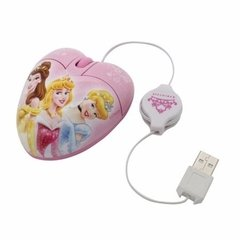 Mouse Óptico Usb Disney Princesas Mini Cable Retráctil