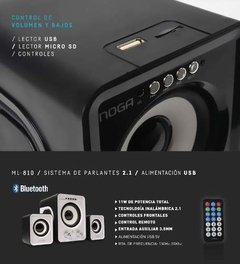 Parlante Bluetooth Noga 2.1 Ml-810 11w Usb Sd Fm Pc Retro - tienda online