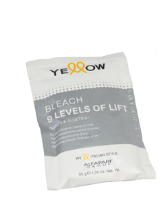 Polvo decolorante bleach 9 levels of lift. Yellow Alfaparf 50g.