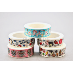 Kit com 05 Washi Tape Caveira Mexicana 10 metros