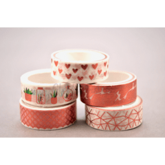 Kit com 05 Washi Tape Rose Gold Laminado 05 metros
