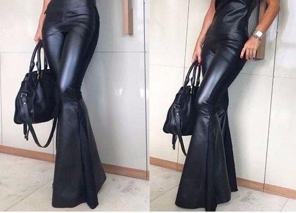 fc7d8485a Calça Flare/ Boca de Sino couro preta - Fashion D&L