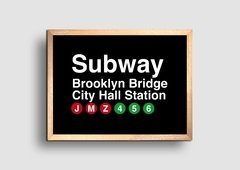 Cuadro Cartel Subway Brooklyn Bridge - comprar online