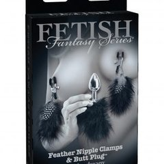 FETISH FANTASY LIMITED EDITION FEATHER NIPPLE CLAMPS & BUTT PLUG