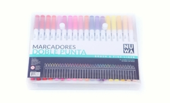 Marcadores Nuwa Doble Punta Brush y Fineliner x36