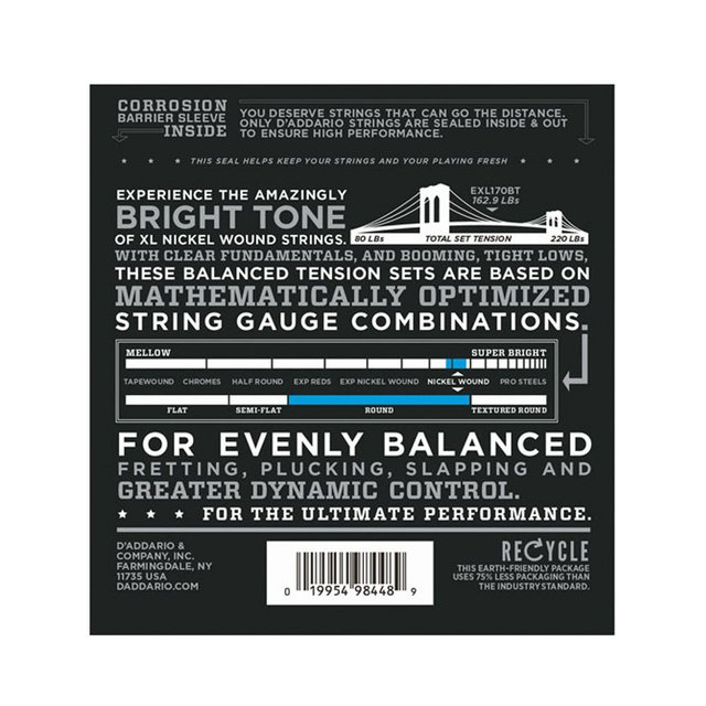 Encordoamento Baixo D`Addario EXL170BT .045 4 cordas Regular Light na internet