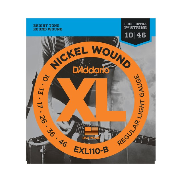 Encordoamento Guitarra D`Addario EXL110-B .010 Regular Light com corda extra