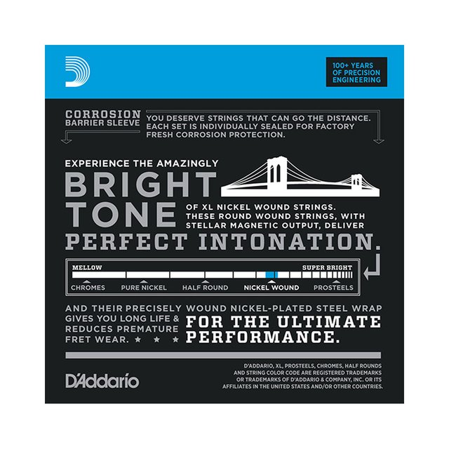Encordoamento Guitarra D`Addario EXL110-B .010 Regular Light com corda extra - comprar online