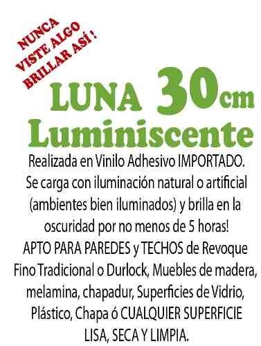 Luna Glow Brilla en la Oscuridad Luminiscente 30cm - Vinilo Mall Decoración