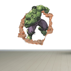 Hulk 3D Pared Rota Ladrillos - Super Héroes Avengers