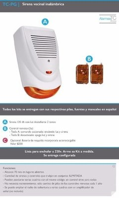 Kit Alarma Sirena Inalambrica Vecinal Barrial Doble Tono - Tecneg Security
