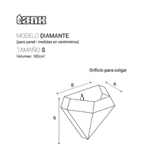 Maceta para pared DIAMANTE | Tamaño S | sin planta
