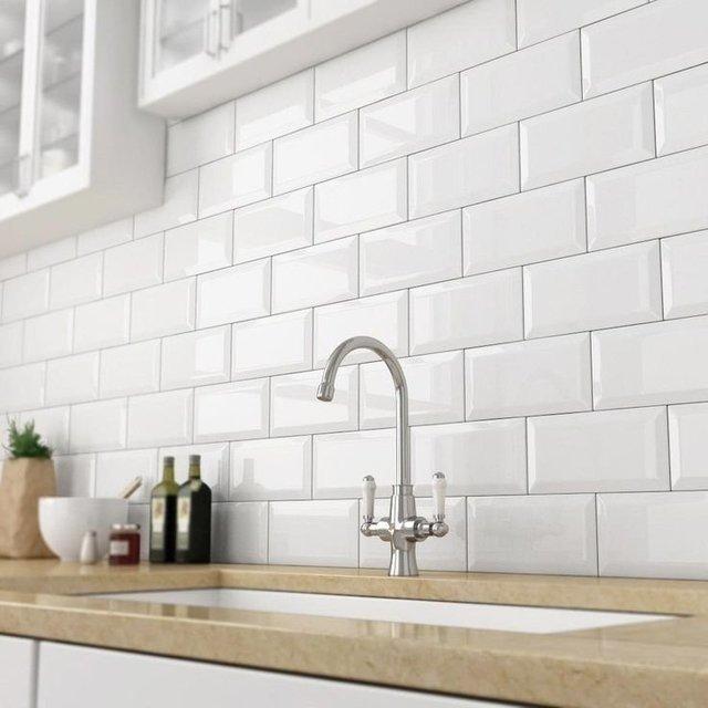 Azulejo Ceramico Biselado Blanco Subway 7 5x15 Para Pared