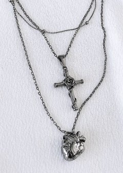 Set Dúo Silver Heart & Cross