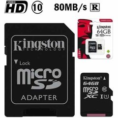 Tarjeta Memoria Micro Sd 64gb Kingston Clase 10 80mb/s en internet